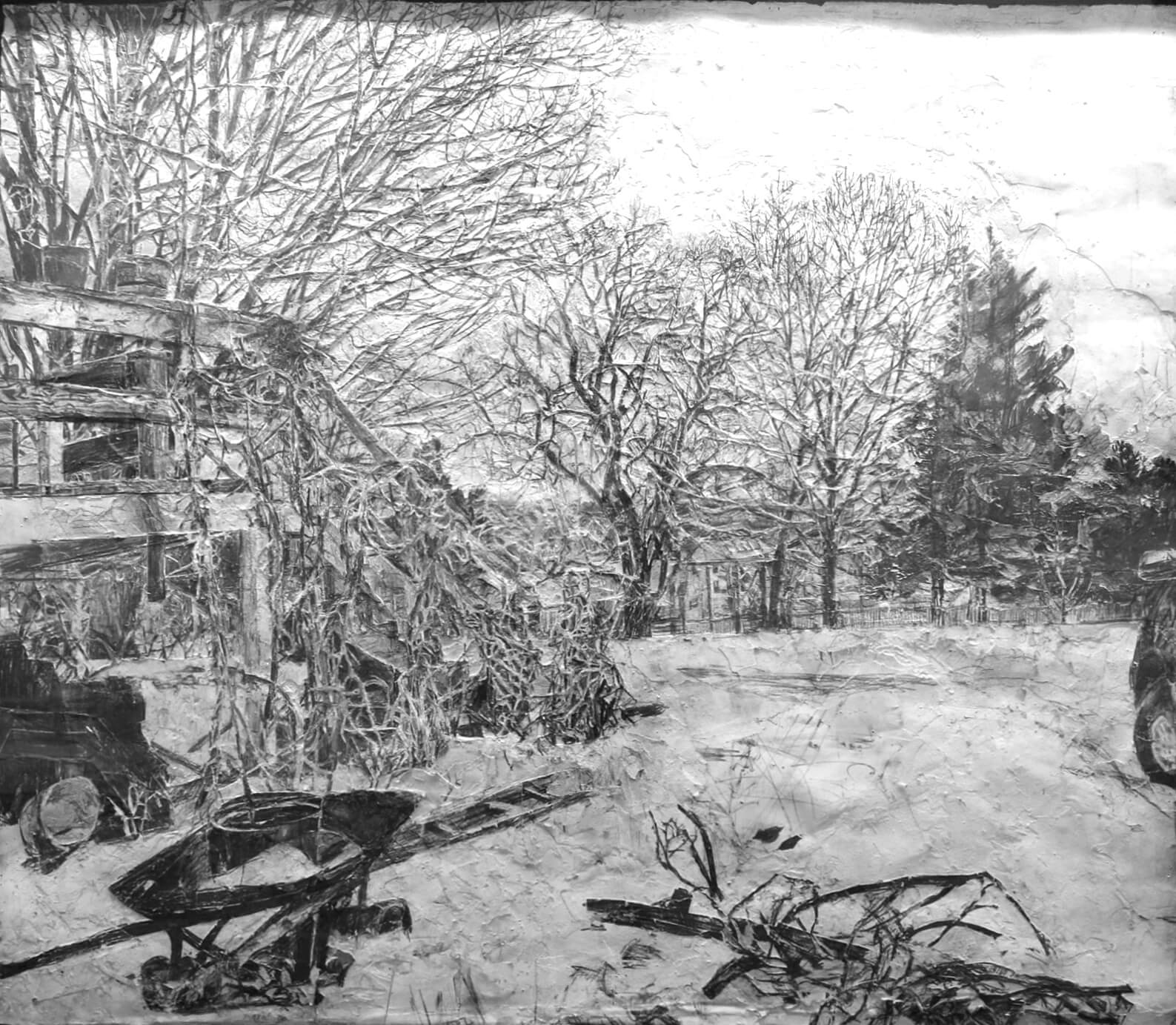 Stanley Lewis, View from Studio Window, 2003-4, graphite on paper, approx. 45 x 51 inches (From the Louis-Dreyfus Family Collection, courtesy of The William Louis-Dreyfus Foundation Inc.)