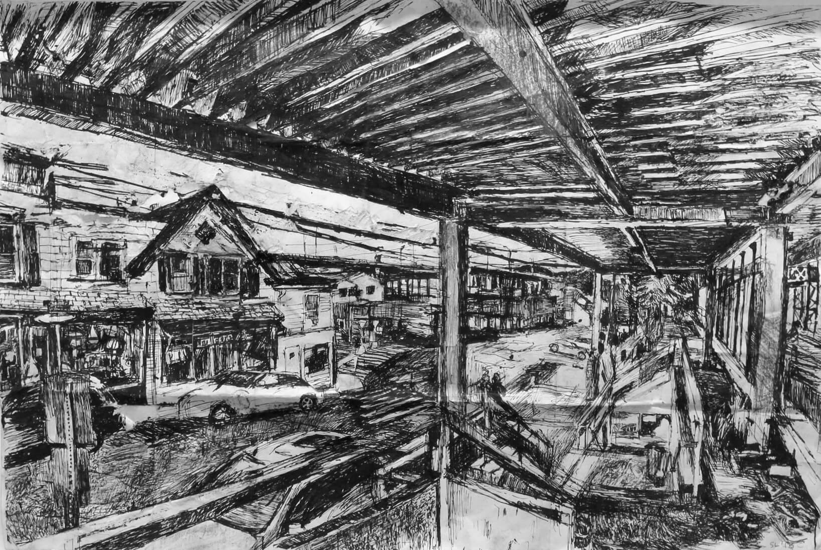 Stanley Lewis, Westport Train Station, 2013, ink on paper, 16 x 23.5 inches (From the Louis-Dreyfus Family Collection, courtesy of The William Louis-Dreyfus Foundation Inc.)