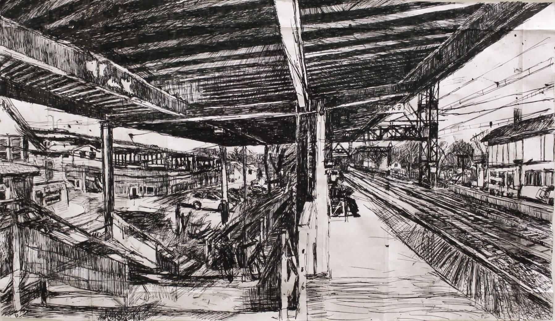 Stanley Lewis, Westport Station with Figures, 2009, ink on paper, 13 x 23 inches (From the Louis-Dreyfus Family Collection, courtesy of The William Louis-Dreyfus Foundation Inc.)