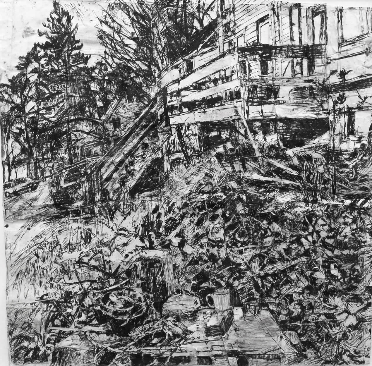 Stanley Lewis, View towards Don Judge's  House, 2011, ink on paper, 24 x 25 inches  (From the Louis-Dreyfus Family Collection, courtesy of The William Louis-Dreyfus Foundation Inc.)