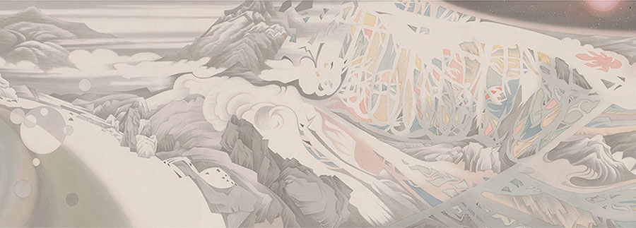(detail) Hao Liang, Streams and Mountains without End, 2017, ink and color on silk, 16 11/16 × 395 1/4 inches (© Hao Liang, courtesy of Gagosian)