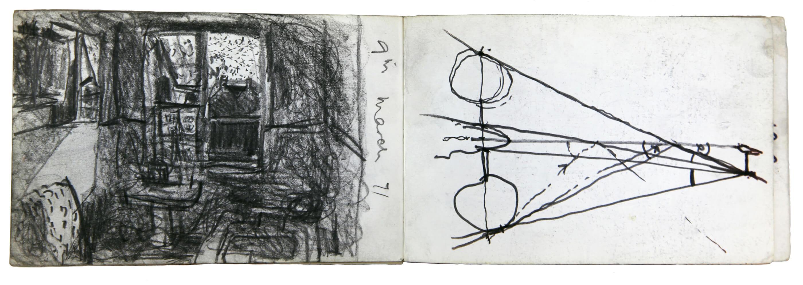 Sargy Mann, Lemmons Bathroom, and two-eyed vision study, sketchbook (Sargy Mann estate)