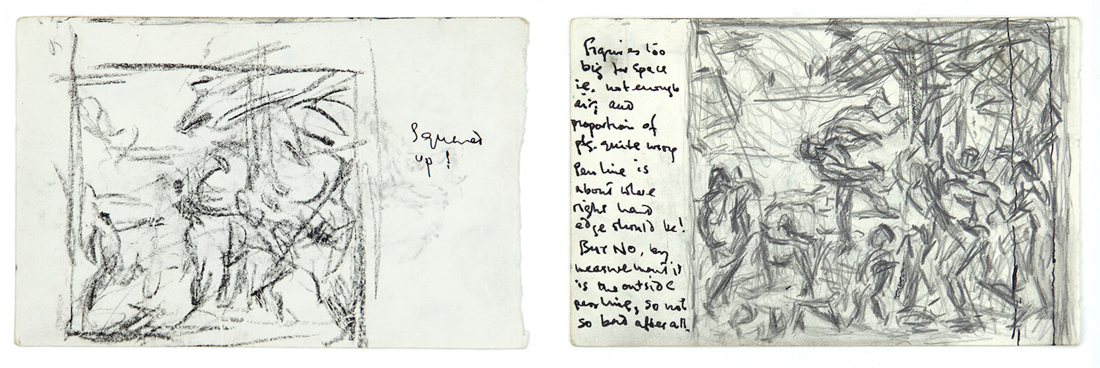 Sargy Mann, Titian, Bacchus and Ariadne Studies, Sketchbook, (Sargy Mann estate)