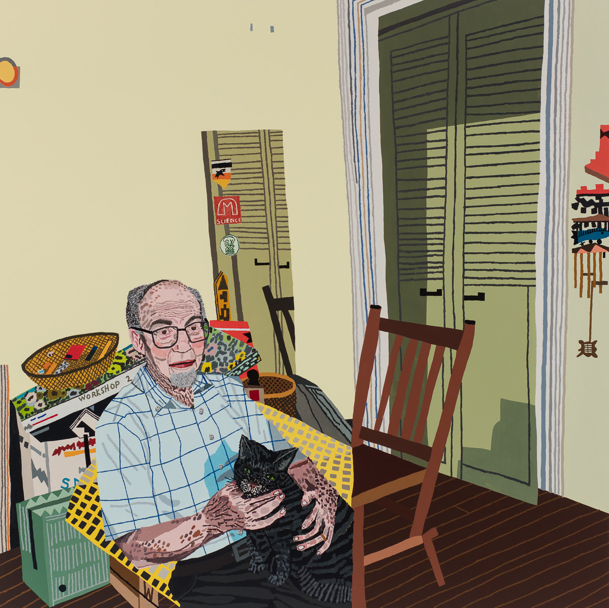 Jonas Wood, Rosy In My Room With His Cat, 2016, oil and acrylic on canvas, 68 x 68 inches (courtesy of Anton Kern Gallery)