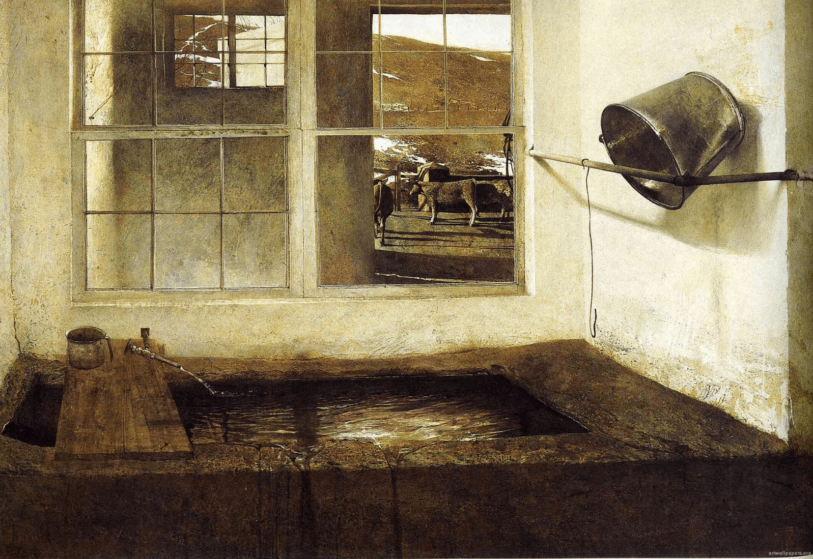 Andrew Wyeth, Spring Fed, 1967, tempera on panel, 27.5 x 39.5 inches (collection of Mr. and Mrs. W. D. Weiss (© 2017 Andrew Wyeth/Artists Rights Society (ARS))
